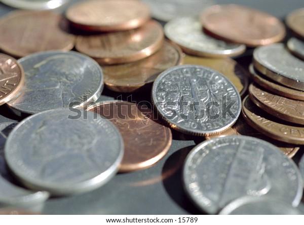 Loose Change. Nickels, pennies, and dimes.