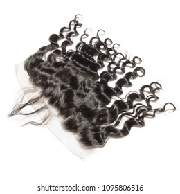 Loose deep curly black human hair weaves extensions lace frontal