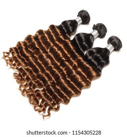 Loose deep curly ombre black with dyed brown human hair weaves extensions bundles