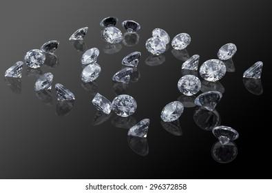 Loose diamond on black background