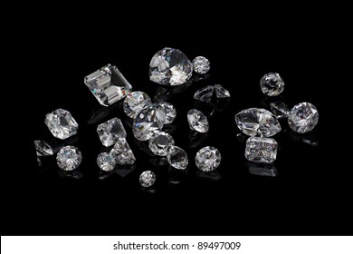 Loose diamond parcel on black background