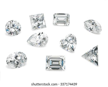 Loose Diamond Shapes Assorted on White Background