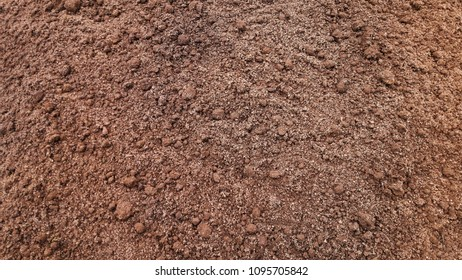 Loose earth on the bed. Farm land. Cultivated Soil texture background