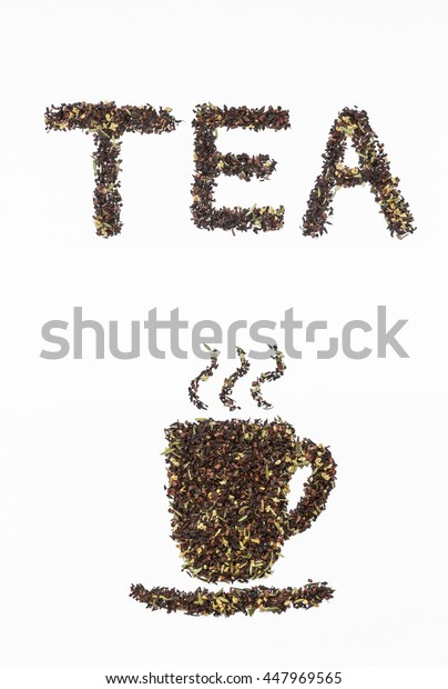 loose honeybush tea cup and letters on white background