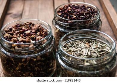 Loose leaf tea in a jar