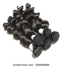 loose wavy black human hair weaves extensions bundles