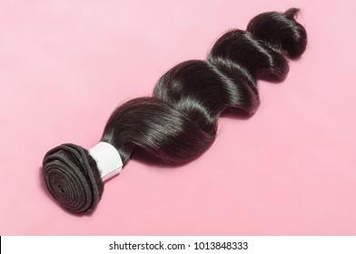 Loose wavy spiral black human hair weaves extension bundle