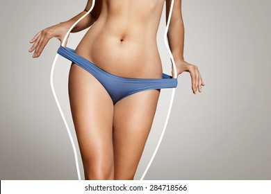 loose weight concept, woman with a body lines before loose weight