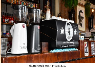 Lop Buri - Thailand, 01-09-2019: Atmosphere in coffee shops and fresh coffee equipment  In a local coffee shop in Lop Buri, Thailand - Southeast Asia