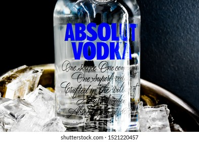 Lop Buri - Thailand, 03/10/2019: Vodka brand Absolut Vodka bottles made in Sweden.  Owned by the French group Pernod Ricard, it is one of the largest alcohol brands in the world.