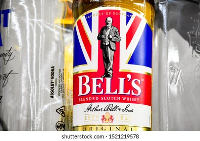 Lop Buri - Thailand, 03/10/2019: Bell's Whiskey in 1825 was the birthplace of Bell's brand. Whiskey was created by Arthur Bell, who started out with a small tea and whiskey business.In Perth Scotland