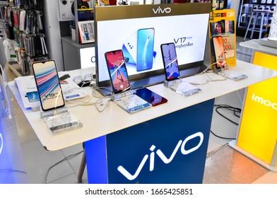 Lop Buri - Thailand, 06/03/2020: Vivo V17 Super AMOLED Ultra O Screen Smartphone, Available at the Big C Lopburi Smartphones Shop in Thailand - Asia