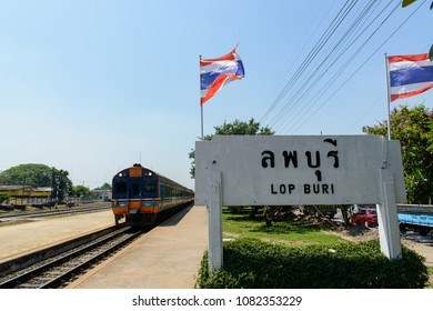 LOP BURI, THAILAND - April 10, 2018 -  Daewoo diesel railcar No.2543 of the State Railway of Thailand was departing from Lop Buri to Chiang Mai station.
