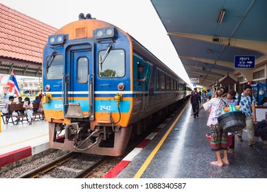 Lop Buri, Thailand - April, 29, 2018 : Unidentified name people were waiting for the rapid train to send them in their destination in Lop Buri railway station at Lop Buri, Thailand