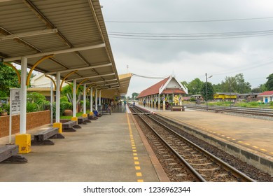 Lop Buri, Thailand - Sep 30, 2018 : View of platform of Lopburi train station in Lopburi, Thailand on September 30,2018.