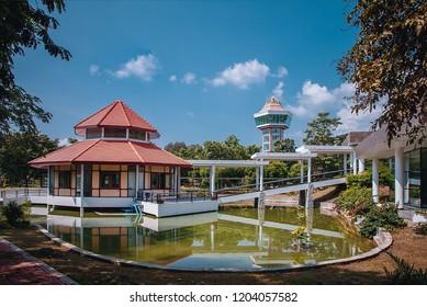 Lopburi, Thailand  - APRIL 2, 2018 :Pasak jolasid dam,Central Museum Building with a beautiful sky background , Lopburi thailand