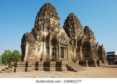 Lopburi, Thailand - April 20, 2010: Prang Sam Yot, originally a Hindu shrine, converted to a Buddhist one in Lopburi, Thailand.