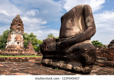 Lopburi  Thailand : August 15, 2018      Ancient Buddhas Located within Thai temple. Of Lopburi Province