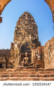 LOPBURI, THAILAND - December 22, 2018: The ancient buddha statue in Phra Prang Sam Yod Pagoda at centered of Lopburi province, Thailand.