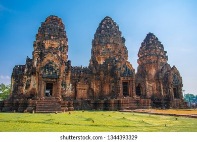 LOPBURI, THAILAND - December 22, 2018: Phra Prang Sam Yod, the ancient pagoda architecture at centered of Lopburi province, Thailand.