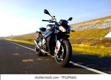 LOPBURI, THAILAND - JANUARY 6, 2018 - Photo shoot with a BMW S1000R motorcycle. The BMW S1000R is a naked bike manufactured by BMW from 2014.