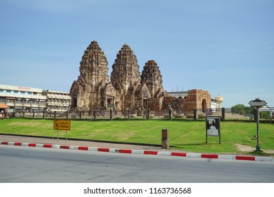 Lopburi, Thailand - July 7, 2018: Phra Prang Sam Yod is the ancient temple centered in Lopburi province, Thailand.