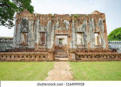 Lopburi, Thailand - July 7, 2018: Phra Chao Hao hall in Phra Narai Ratchaniwet or King Narai's Palace. Lopburi, Thailand. This is a part of Ayuttaya Kingdom 1893 - 2310