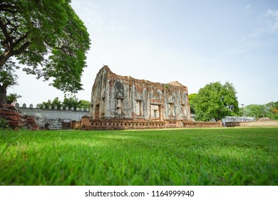 Lopburi, Thailand - July 7, 2018: Phra Chao Hao hall in Phra Narai Ratchaniwet or King Narai's Palace. Lopburi, Thailand. This is a part of Ayuttaya Kingdom 1893 - 2310