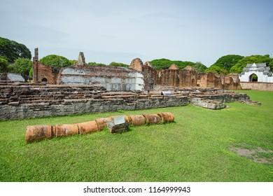 Lopburi, Thailand - July 7, 2018: Phra Narai Ratchaniwet or King Narai's Palace centered in Lopburi province, Thailand. This is a part of Ayuttaya Kingdom 1893 - 2310