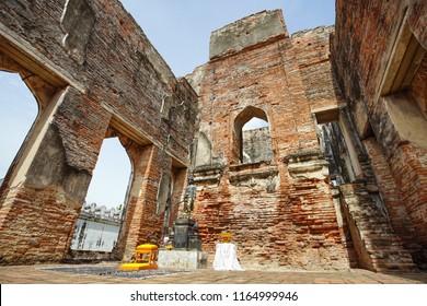 Lopburi, Thailand - July 7, 2018: Dusit Sawan Thanya Mahaprasat Throne Hall in Phra Narai Ratchaniwet or King Narai's Palace. Lopburi, Thailand