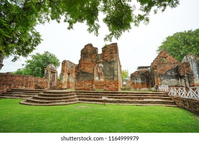 Lopburi, Thailand - July 7, 2018: The ruined historical building Wichayen House in Lopburi Province, Thailand