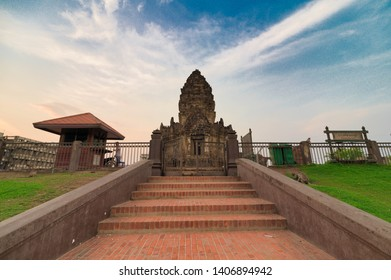 Lopburi, Thailand - May 11, 2019 : Phra Prang Sam Yod temple. An ancient Khmer architecture in Lopburi, Thailand