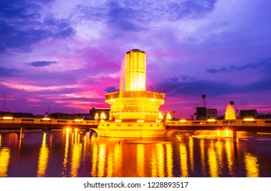 Lopburi, Thailand – November 13,2018:Rotary Srisuriyothai (Sa Kaeo Circle) is a roundabout with a structure similar to a candle set on a large tray.Lopburi,Thailand.