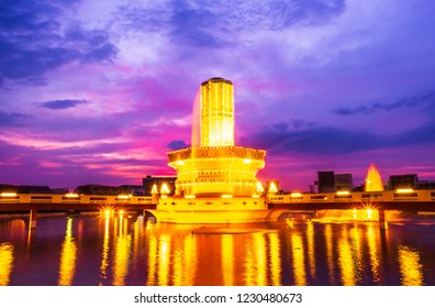 Lopburi, Thailand – November 13,2018:Rotary Srisuriyothai (Sa Kaeo Circle) is a roundabout with a structure similar to a candle set on a large tray.Lopburi, Thailand.