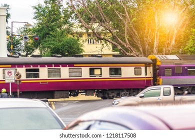 Lopburi, Thailand - October 31,2018: A slowly moving train.