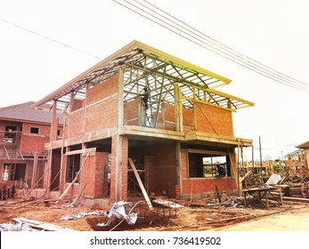 LOPBURI, THAILAND- SEPTEMBER 29, 2017: Building site with new homes under construction, LOPBURI, THAILAND.