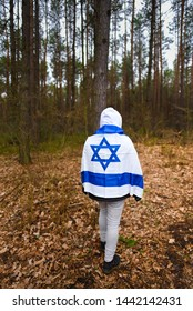 Lopuchowo Forest, Poland - March 12,2018: group of Israeli teenagers visiting Lopuchowo Forest, Mass murders in Tykocin occurred in August 25, 1941, during World War II,  Tykocin, holocaust, mass grav