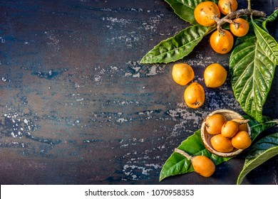 Loquat fruit. Nispero. Eriobotrya Japonica. Loquat with fresh leaves on metal background.