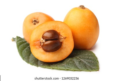 Loquat medlar with leaf on white background