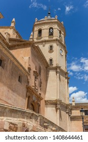 LORCA, SPAIN - MAY 09, 2019: Tower of the San Patricio Collegiate church in Lorca, Spain