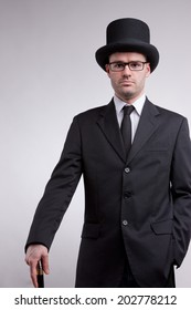 lord black nerd with a top hat and a cane