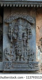 Lord Brahma - Lakshmi Narasimha Temple, Nuggehalli, Hassan District of Karnataka state, India. The temple was built in 1246 CE rule of Hoysala Empire.
