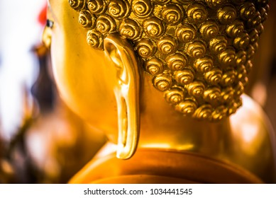 The lord Buddha statue in the Buddhist temple, southeast Asia.