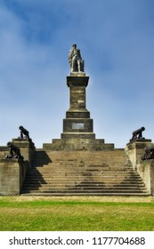 Lord Collingwood Monument, a statue of Admiral lord Collingwood standing high above the mouth of the river Tyne, Newcastle.