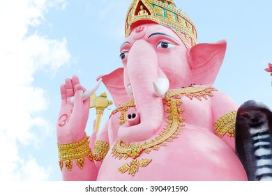 Lord Ganesh pink background is blue sky.