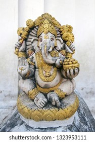 lord ganesh with whit wall background