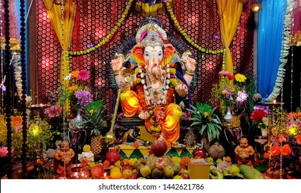 lord ganesha art during birthday celberation of lord ganesha