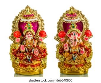 The Lord Ganesha and Goddess Laxmi - Hindu religion and Indian celebration of Diwali festival
