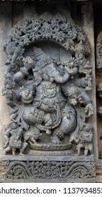 Lord Ganesha - Lakshmi Narasimha Temple, Nuggehalli, Hassan District of Karnataka state, India. The temple was built in 1246 CE rule of Hoysala Empire.