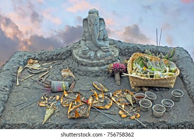 Lord Ganesha on top of the Bromo vulcano on Java Indonesia